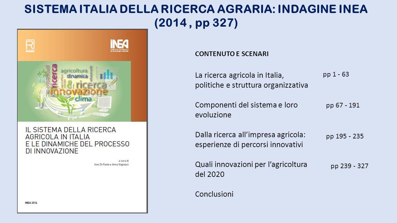 SISTEMA ITALIA DELLA RICERCA AGRARIA: INDAGINE INEA (2014 , pp 327)