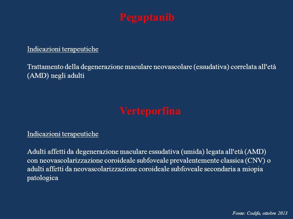 Pegaptanib Verteporfina Indicazioni terapeutiche