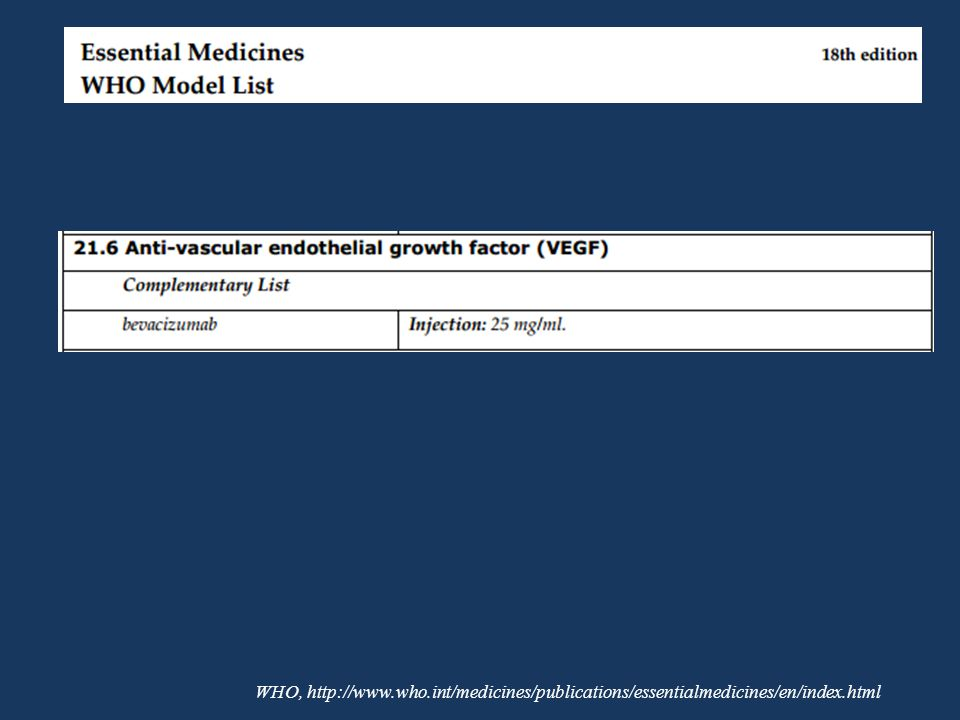 WHO, http://www.who.int/medicines/publications/essentialmedicines/en/index.html