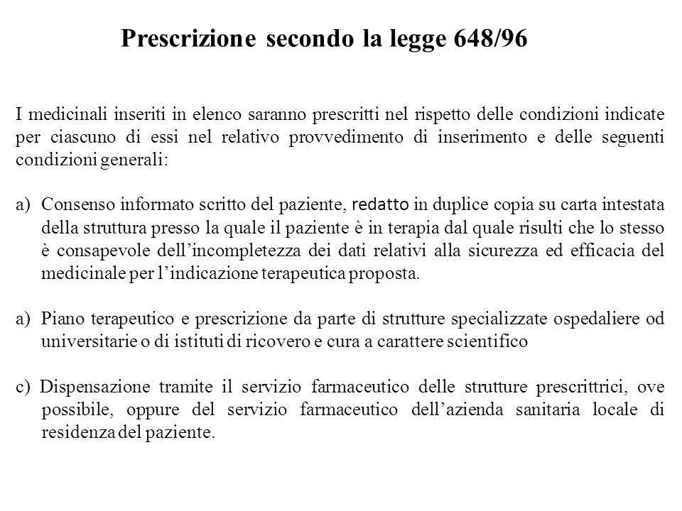 Prescrizione secondo la legge 648/96