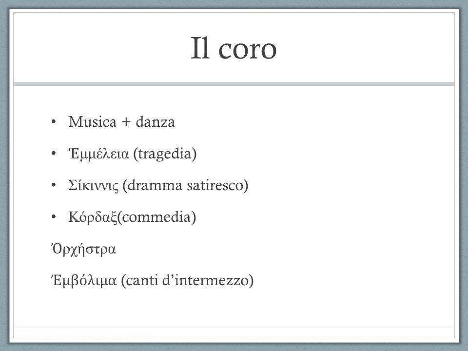 Il coro Musica + danza Ἐμμέλεια (tragedia) Σίκιννις (dramma satiresco)