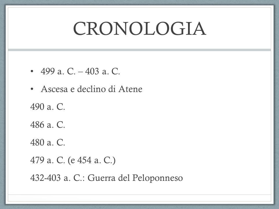 CRONOLOGIA 499 a. C. – 403 a. C. Ascesa e declino di Atene 490 a. C.