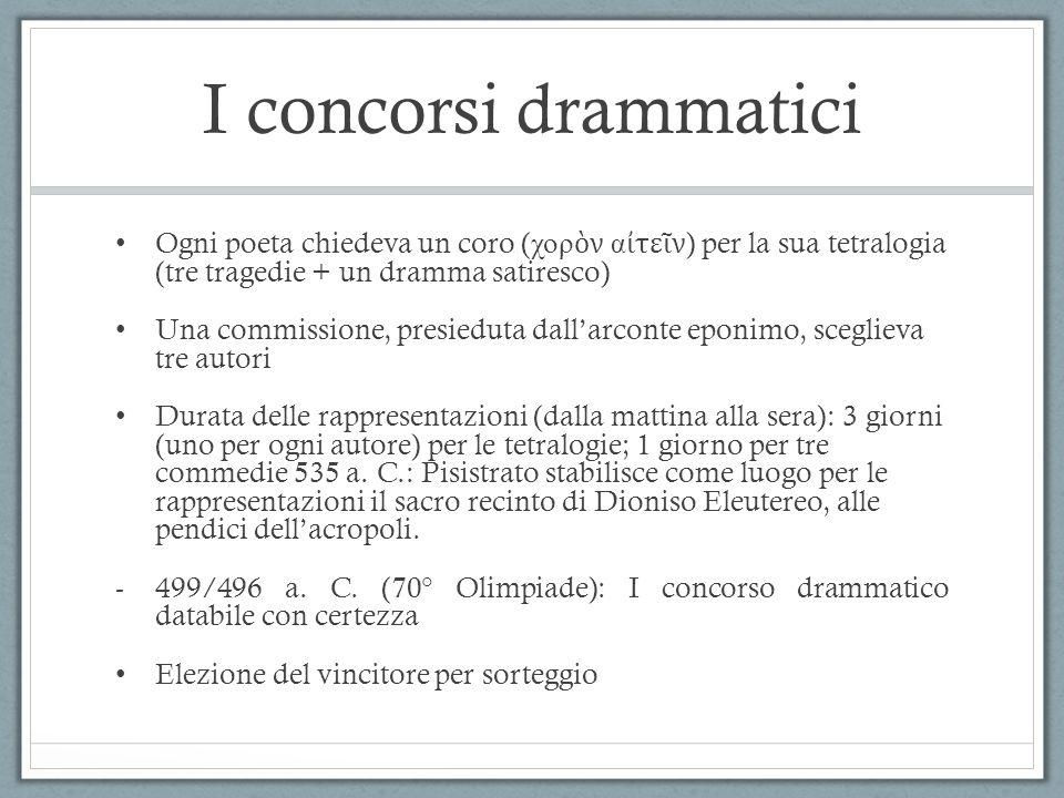 I concorsi drammatici Ogni poeta chiedeva un coro (χορὸν αἰτεῖν) per la sua tetralogia (tre tragedie + un dramma satiresco)