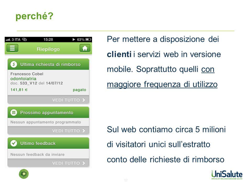 perché Per mettere a disposizione dei clienti i servizi web in versione mobile. Soprattutto quelli con maggiore frequenza di utilizzo.