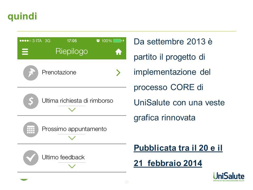 quindi Da settembre 2013 è partito il progetto di implementazione del processo CORE di UniSalute con una veste grafica rinnovata.