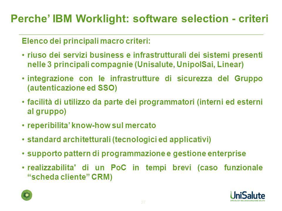 Perche' IBM Worklight: software selection - criteri