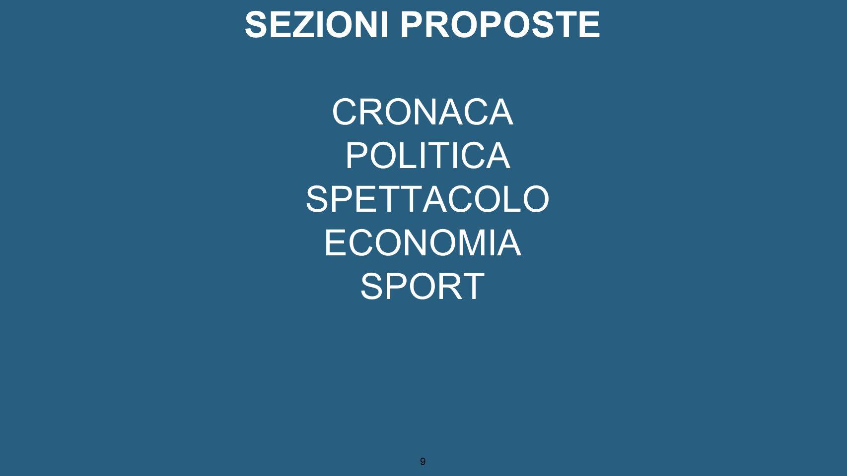SEZIONI PROPOSTE CRONACA POLITICA SPETTACOLO ECONOMIA SPORT