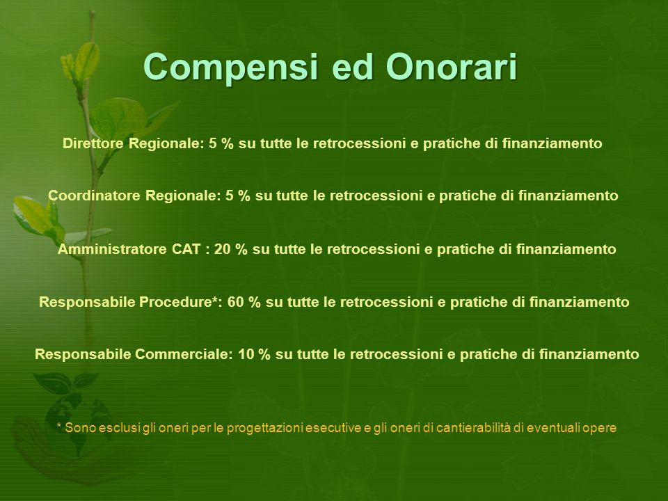 Compensi ed Onorari Direttore Regionale: 5 % su tutte le retrocessioni e pratiche di finanziamento.