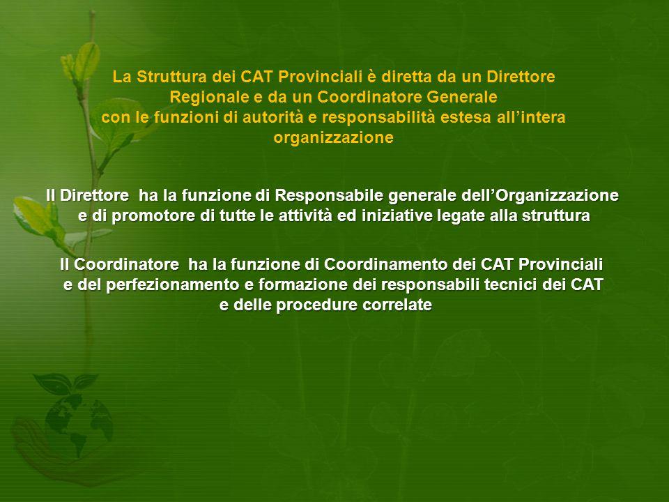 Il Coordinatore ha la funzione di Coordinamento dei CAT Provinciali