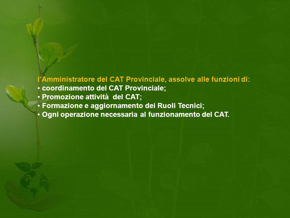 I'Amministratore del CAT Provinciale, assolve alle funzioni di: