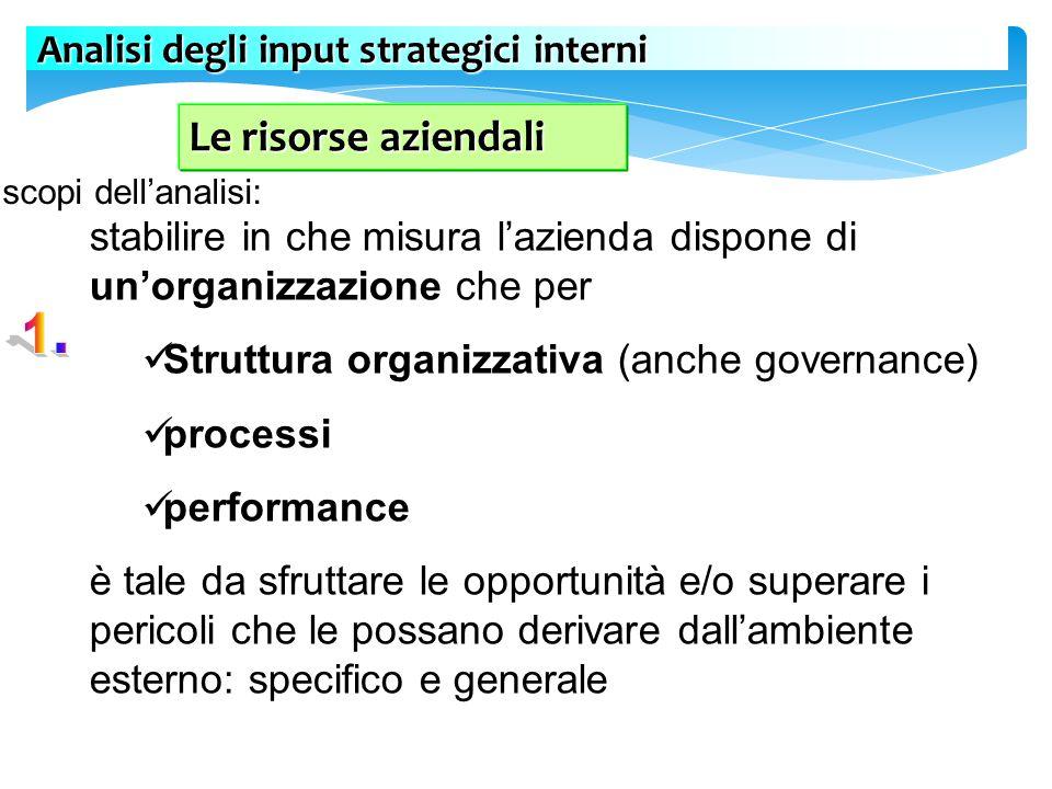 Le risorse aziendali Analisi degli input strategici interni
