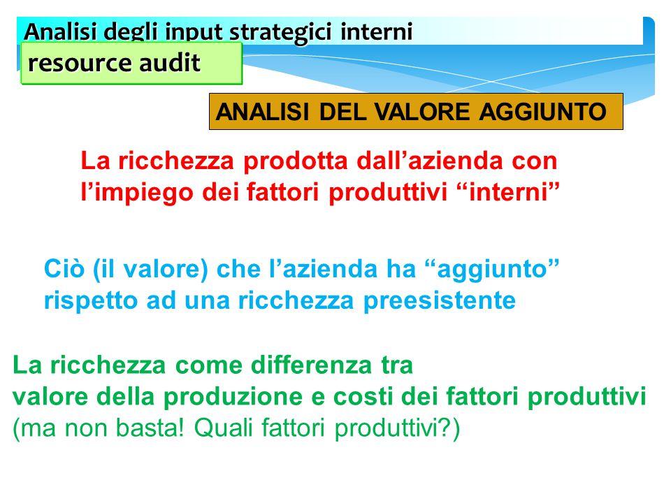 resource audit Analisi degli input strategici interni