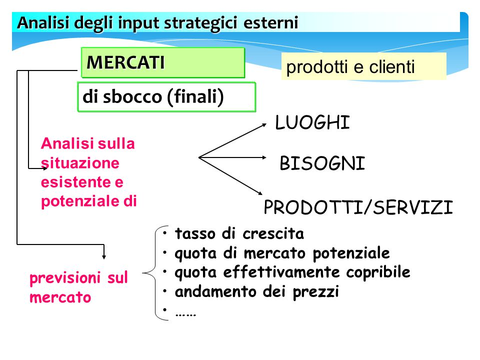 MERCATI di sbocco (finali) Analisi degli input strategici esterni