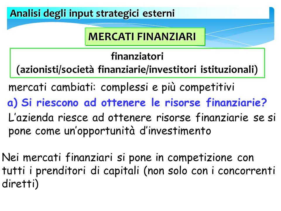 (azionisti/società finanziarie/investitori istituzionali)