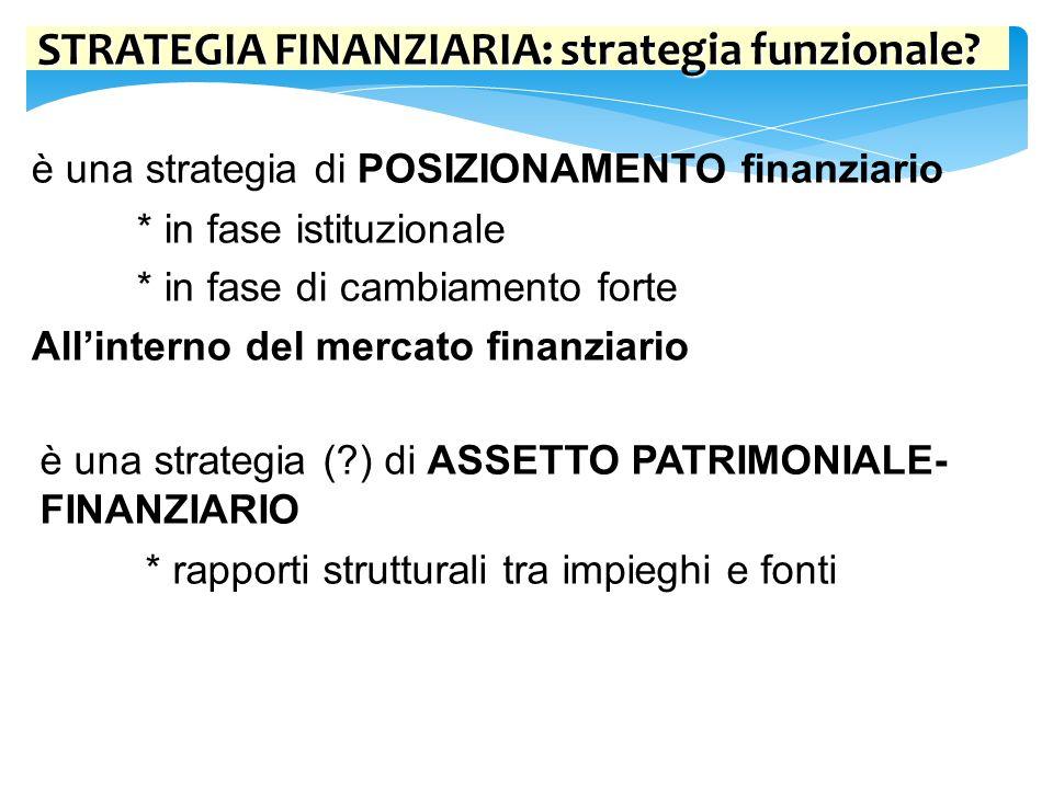 STRATEGIA FINANZIARIA: strategia funzionale