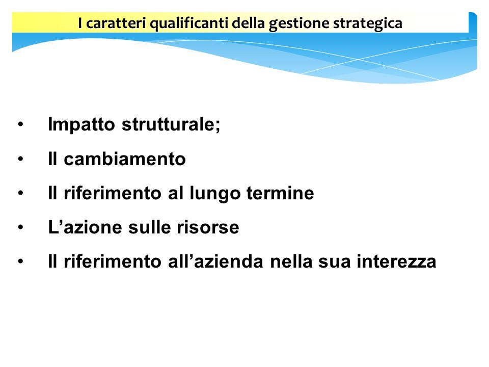 I caratteri qualificanti della gestione strategica