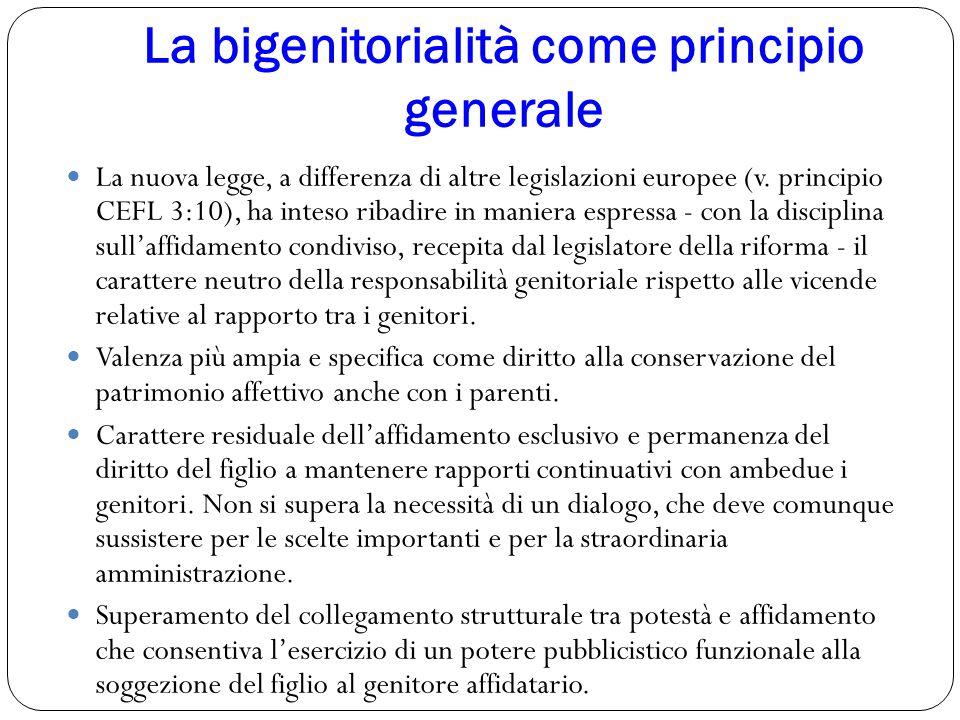 La bigenitorialità come principio generale