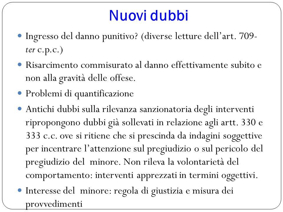 Nuovi dubbi Ingresso del danno punitivo (diverse letture dell'art. 709- ter c.p.c.)