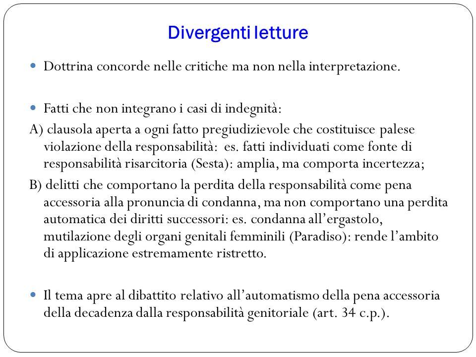 Divergenti letture Dottrina concorde nelle critiche ma non nella interpretazione. Fatti che non integrano i casi di indegnità: