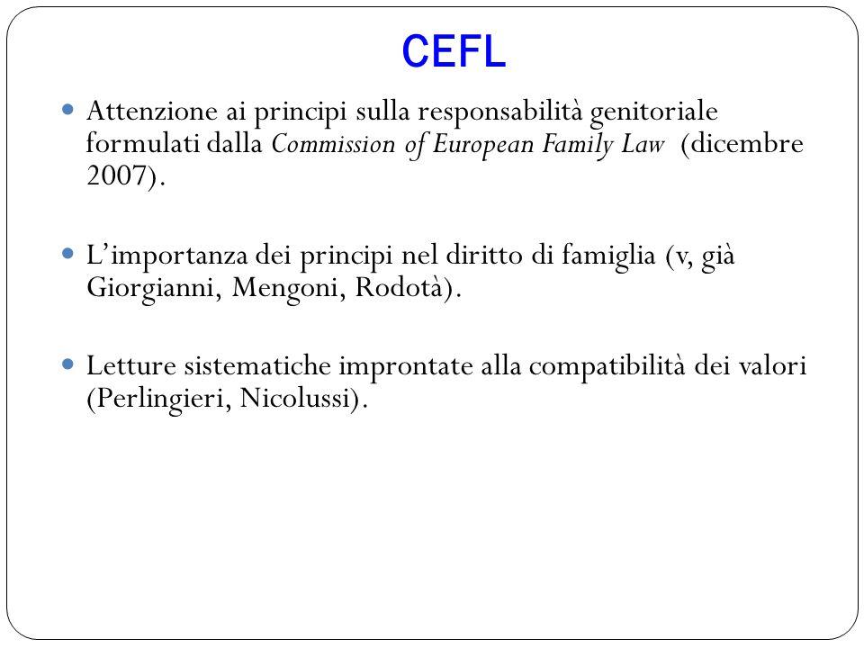 CEFL Attenzione ai principi sulla responsabilità genitoriale formulati dalla Commission of European Family Law (dicembre 2007).