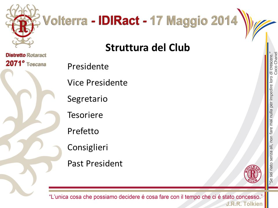 Struttura del Club Presidente Vice Presidente Segretario Tesoriere