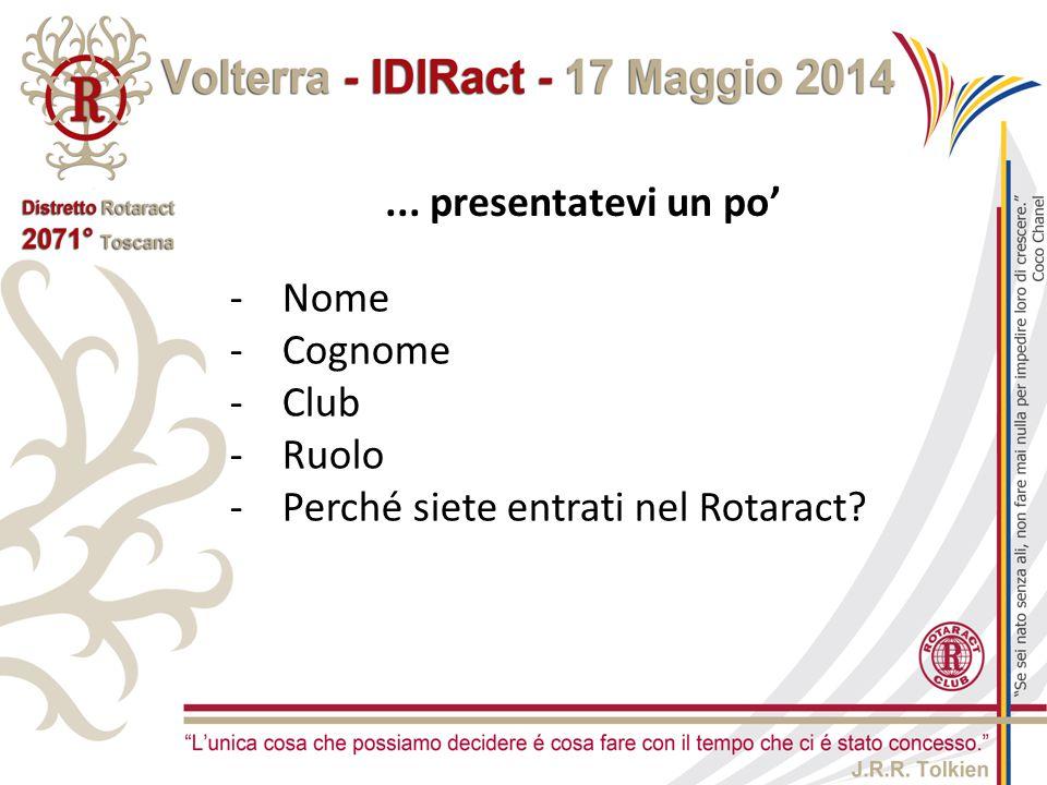 ... presentatevi un po' Nome Cognome Club Ruolo Perché siete entrati nel Rotaract