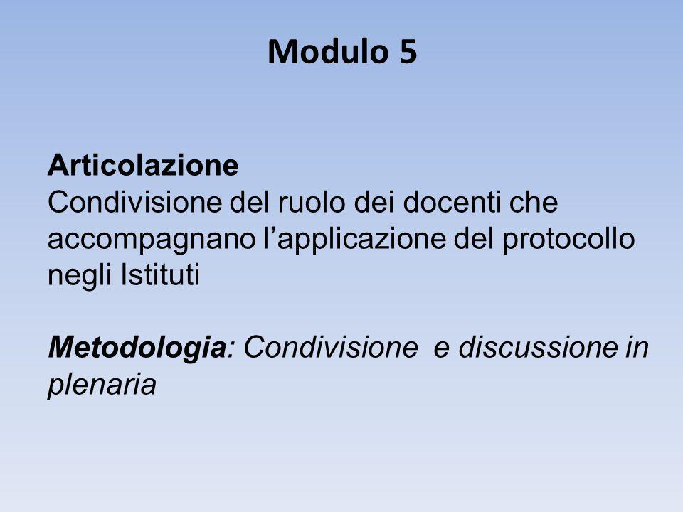 Modulo 5 Articolazione. Condivisione del ruolo dei docenti che accompagnano l'applicazione del protocollo negli Istituti.