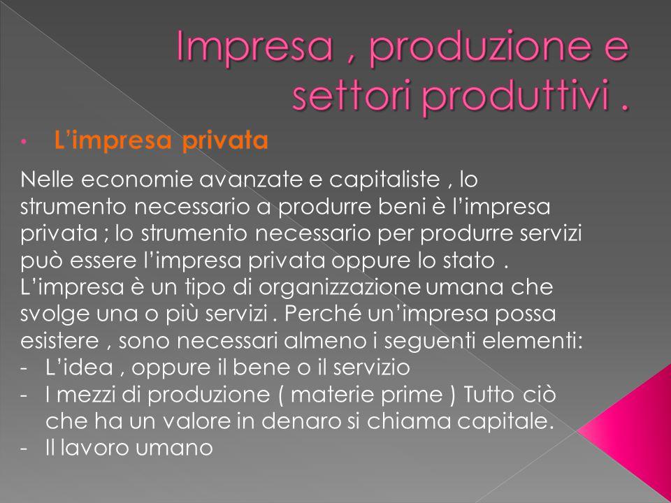 Impresa , produzione e settori produttivi .