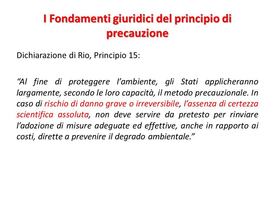 I Fondamenti giuridici del principio di precauzione