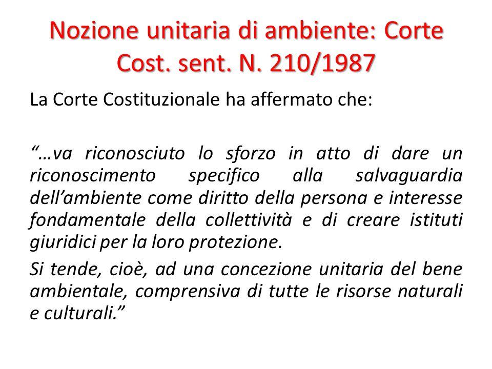 Nozione unitaria di ambiente: Corte Cost. sent. N. 210/1987