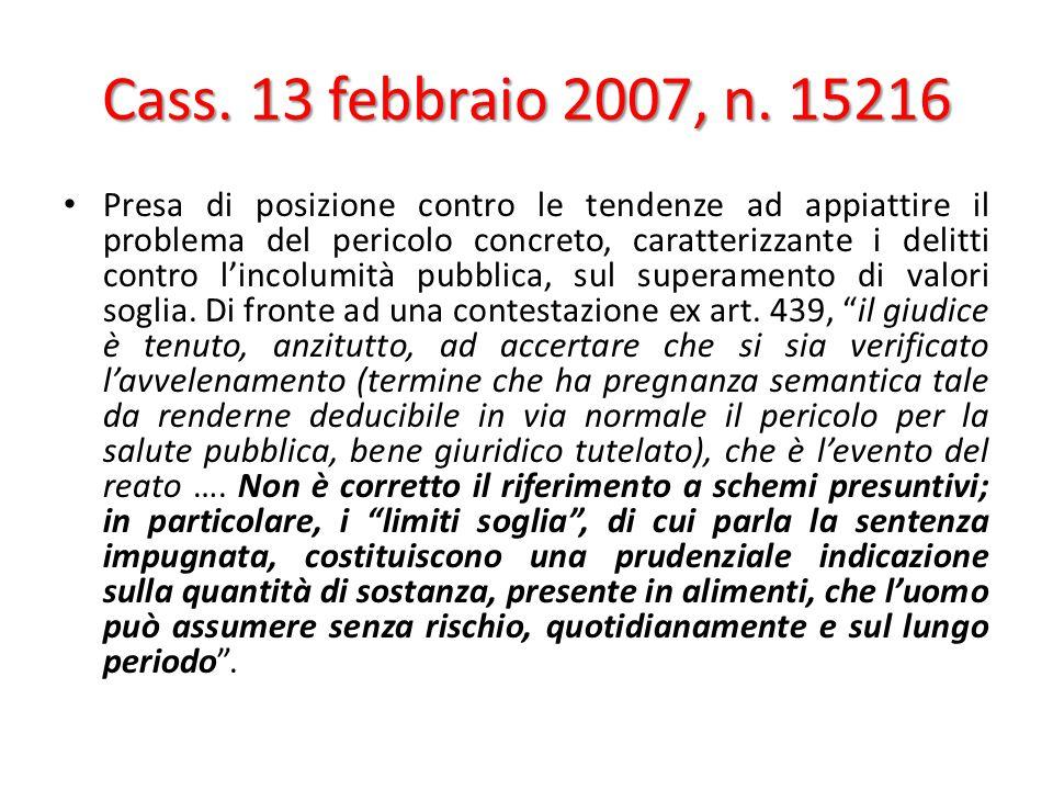Cass. 13 febbraio 2007, n. 15216