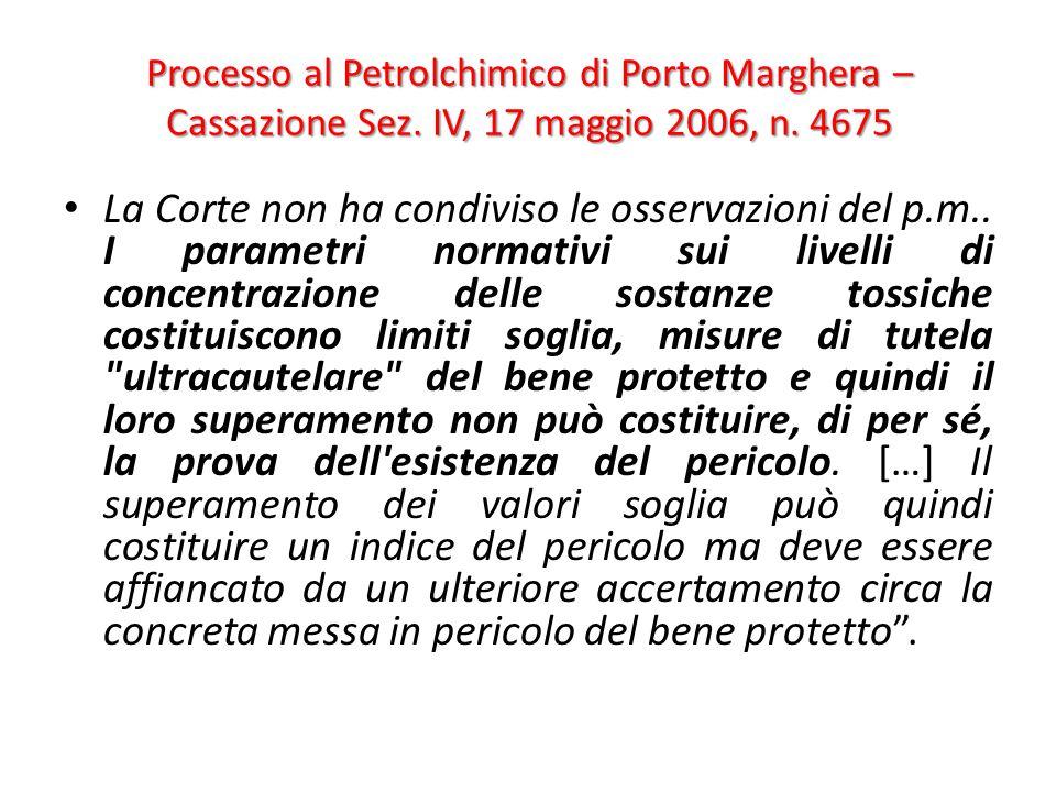 Processo al Petrolchimico di Porto Marghera – Cassazione Sez