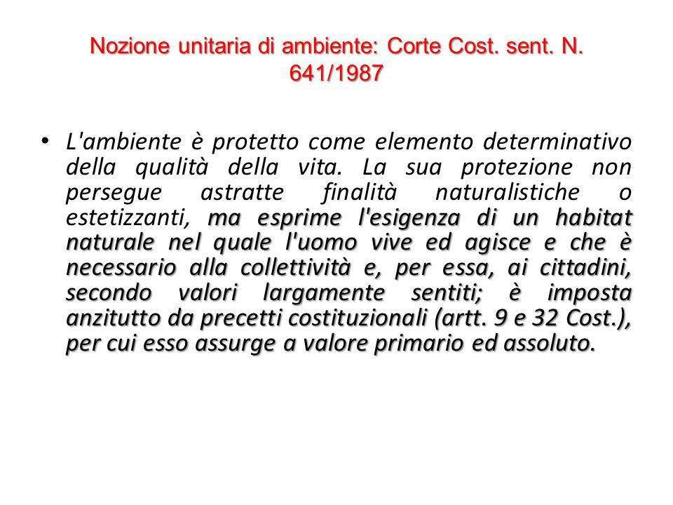 Nozione unitaria di ambiente: Corte Cost. sent. N. 641/1987