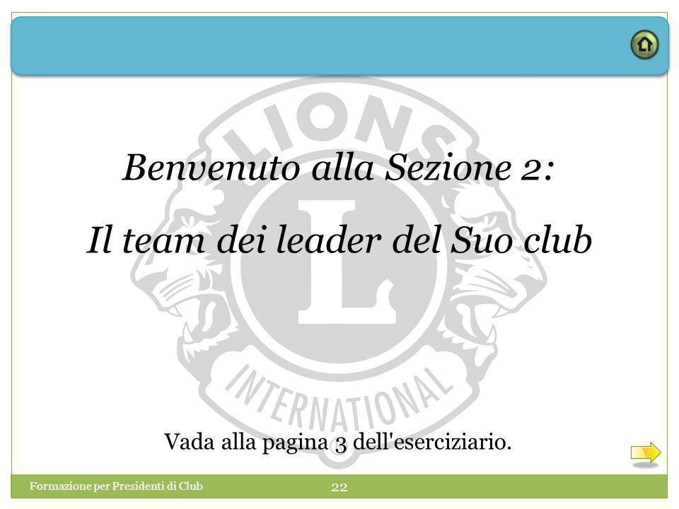 Benvenuto alla Sezione 2: Il team dei leader del Suo club