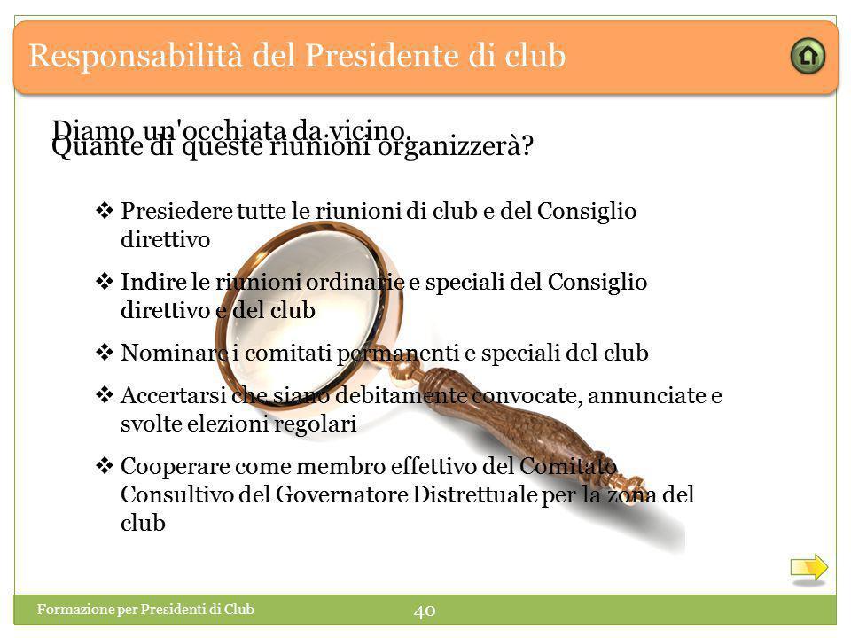 Responsabilità del Presidente di club