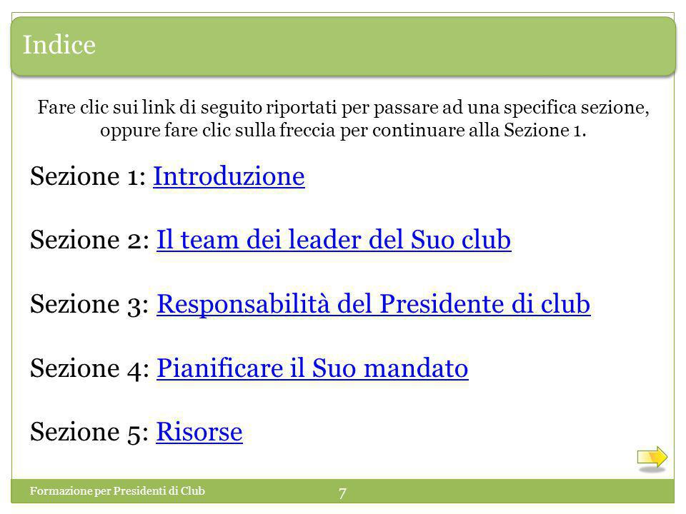 Sezione 1: Introduzione Sezione 2: Il team dei leader del Suo club