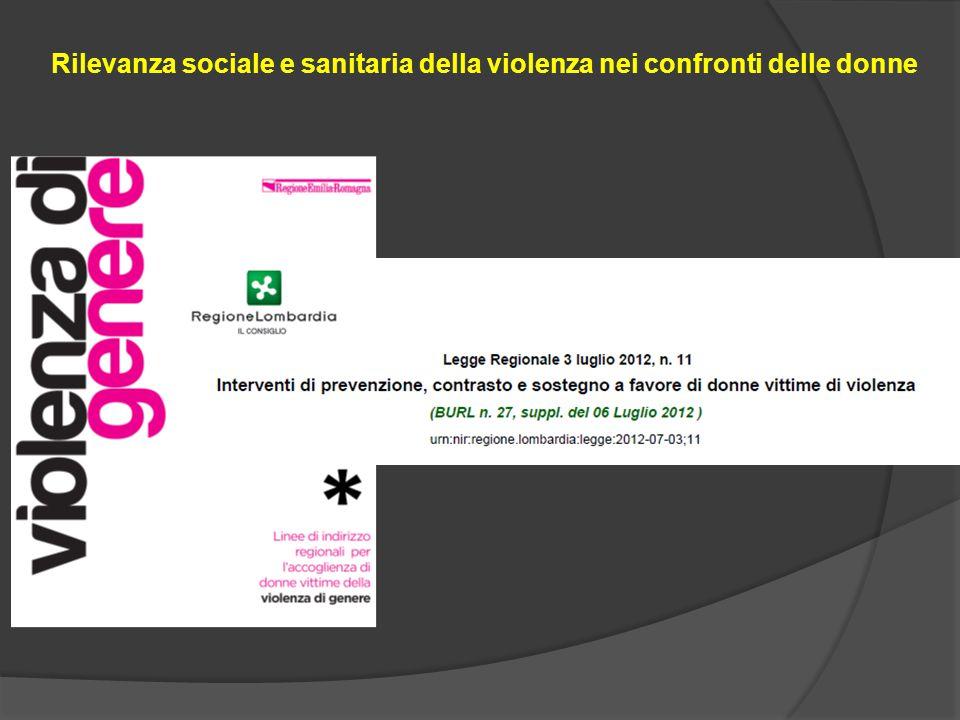 Rilevanza sociale e sanitaria della violenza nei confronti delle donne