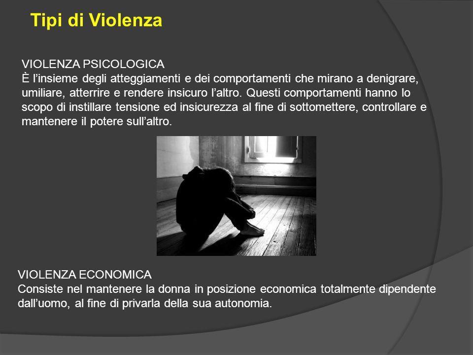 Tipi di Violenza VIOLENZA PSICOLOGICA