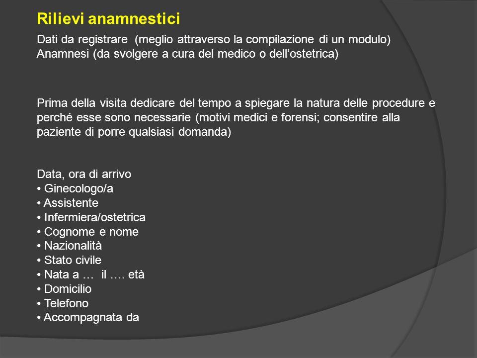 Rilievi anamnestici Dati da registrare (meglio attraverso la compilazione di un modulo) Anamnesi (da svolgere a cura del medico o dell'ostetrica)