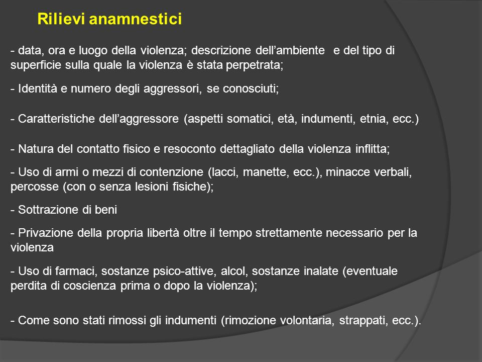 Rilievi anamnestici