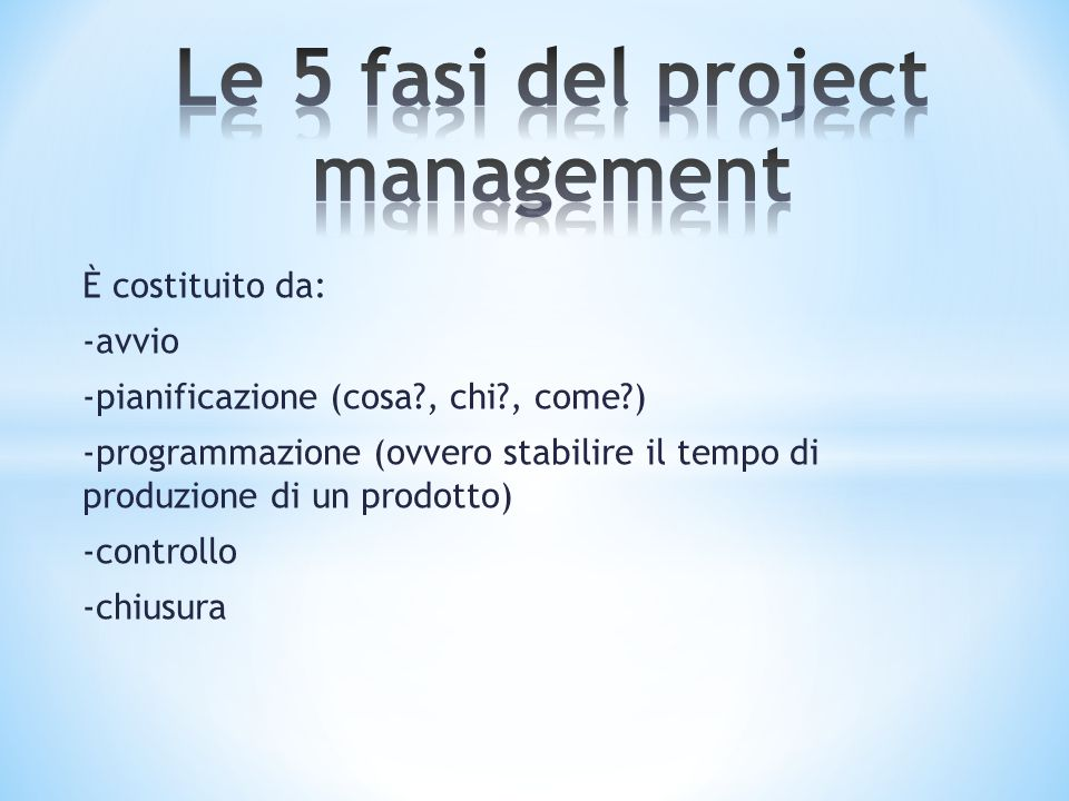 Le 5 fasi del project management