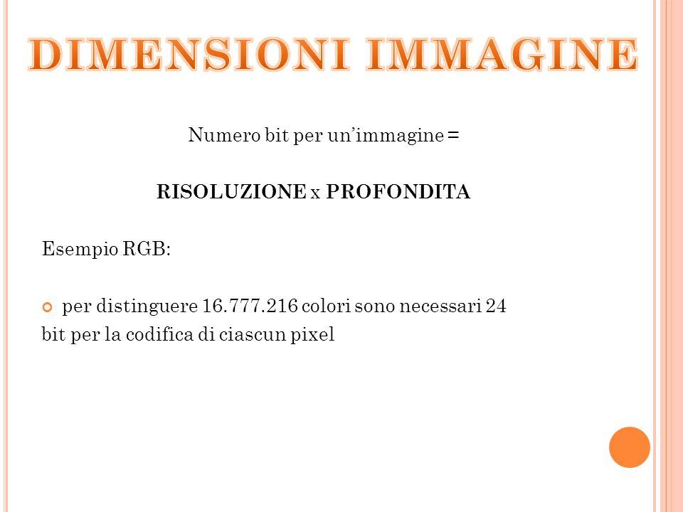 DIMENSIONI IMMAGINE Numero bit per un'immagine =