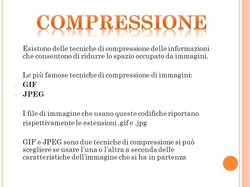 compressione Esistono delle tecniche di compressione delle informazioni che consentono di ridurre lo spazio occupato da immagini.