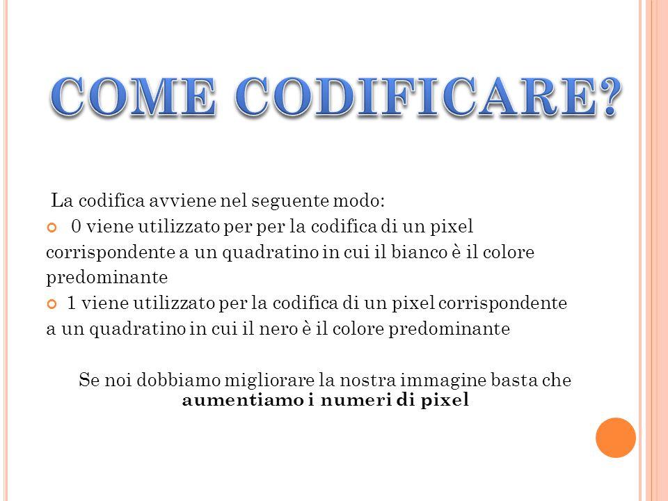 COME CODIFICARE La codifica avviene nel seguente modo: