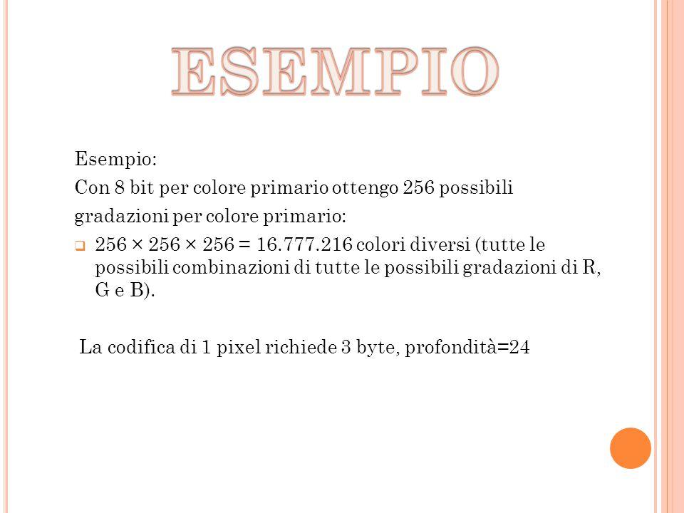 ESEMPIO Esempio: Con 8 bit per colore primario ottengo 256 possibili