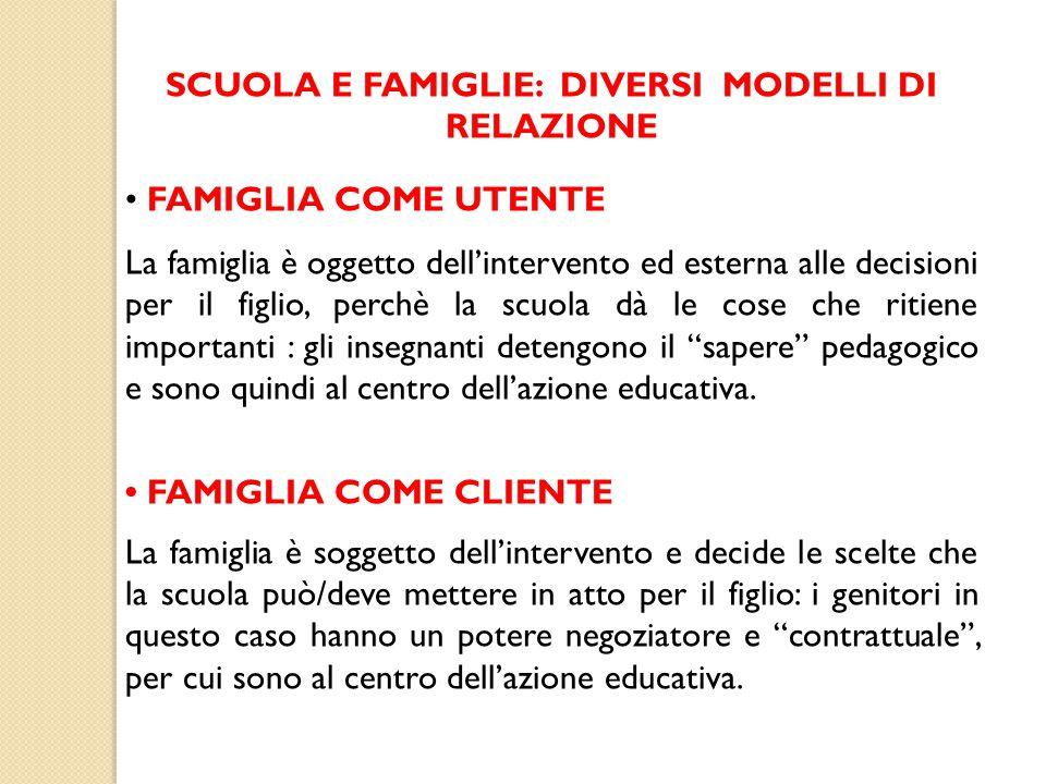 SCUOLA E FAMIGLIE: DIVERSI MODELLI DI RELAZIONE