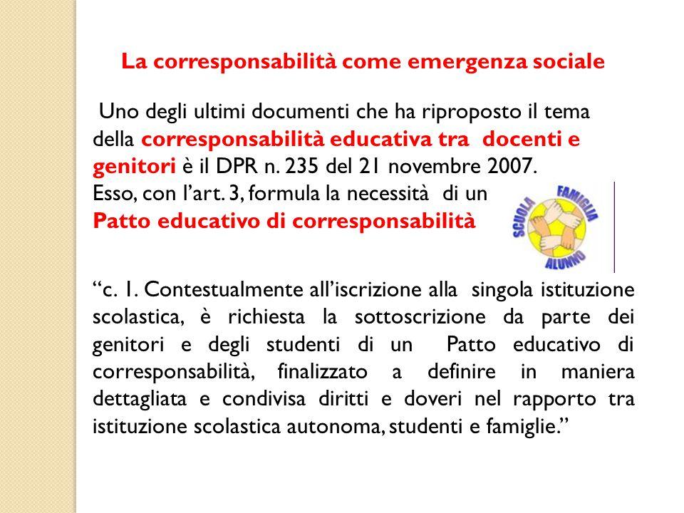 La corresponsabilità come emergenza sociale
