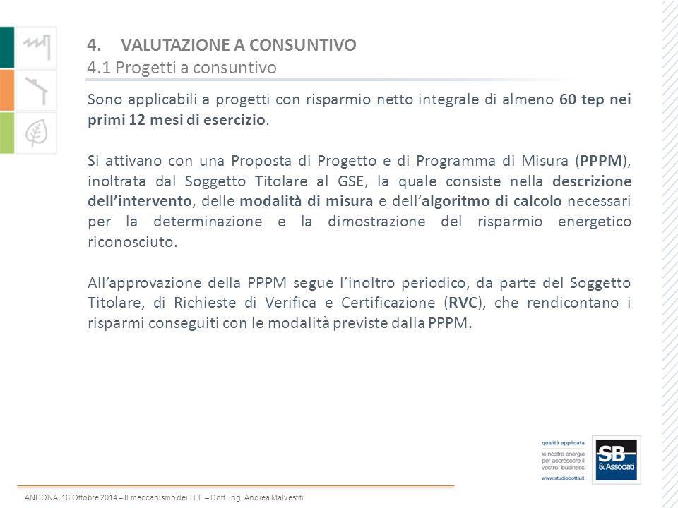 VALUTAZIONE A CONSUNTIVO 4.1 Progetti a consuntivo