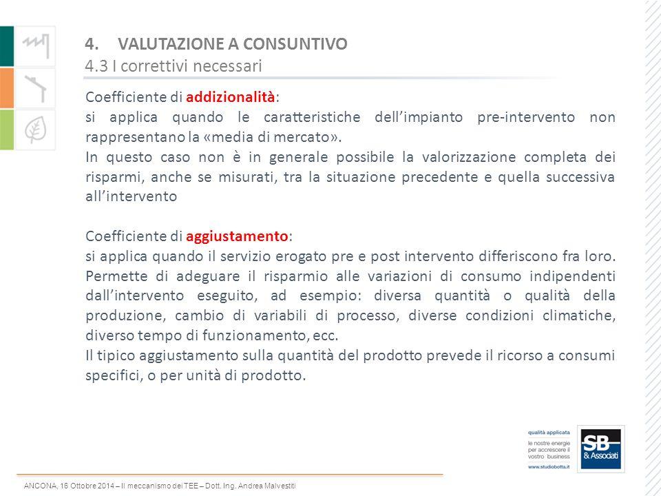 VALUTAZIONE A CONSUNTIVO 4.3 I correttivi necessari