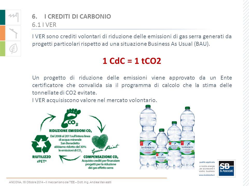 1 CdC = 1 tCO2 I CREDITI DI CARBONIO 6.1 I VER